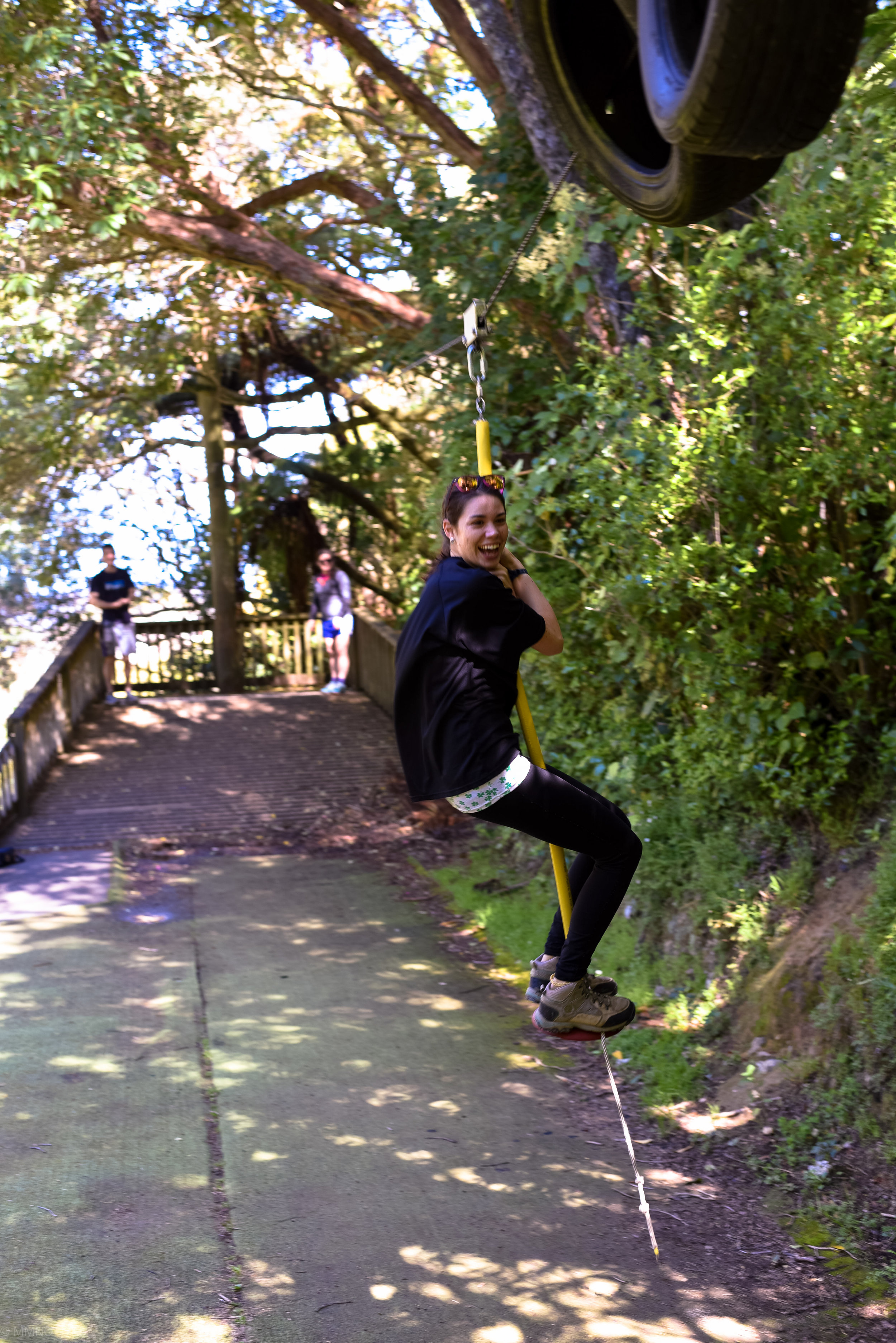 Brigid, rebel without a cause! Standing on the flying fox despite explicitly being told she can't!