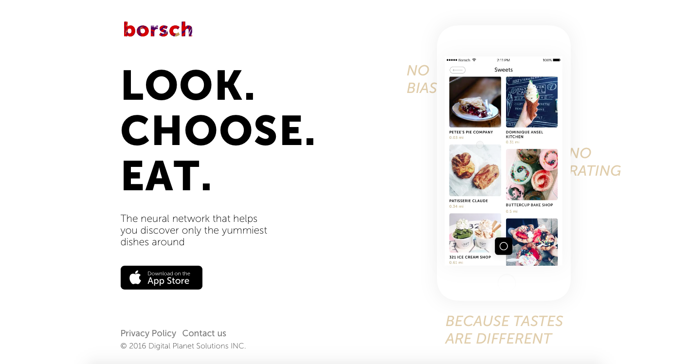 borsch.io  Borsch, the first neural network based food recommendation app
