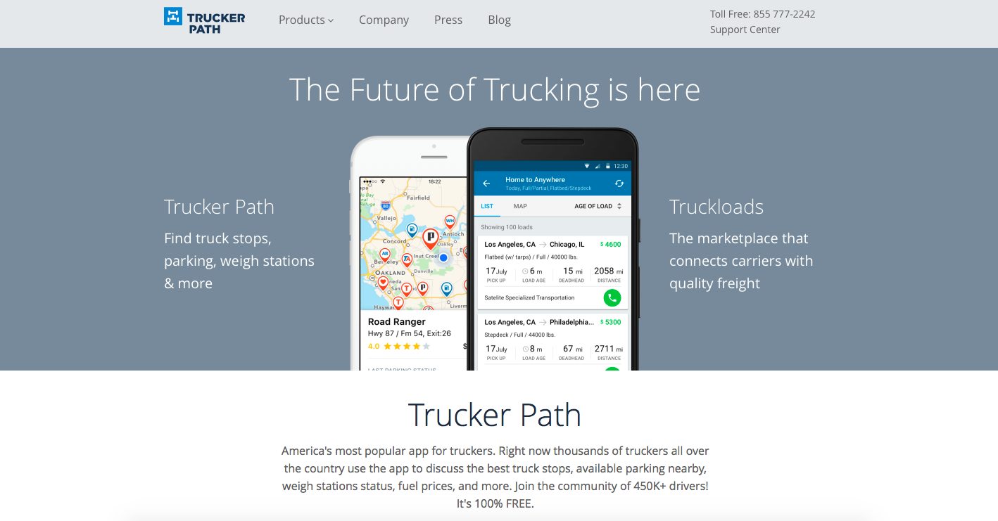truckerpath.com  Trucker Path is an American transportation network company specializing in online and mobile services for the trucking industry