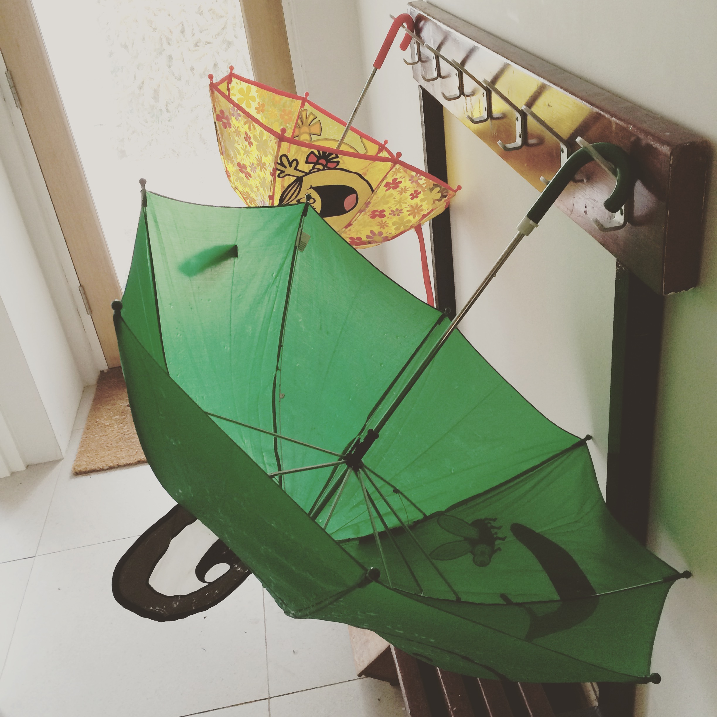 This is how I found the umbrellas after the children came in from the garden!!