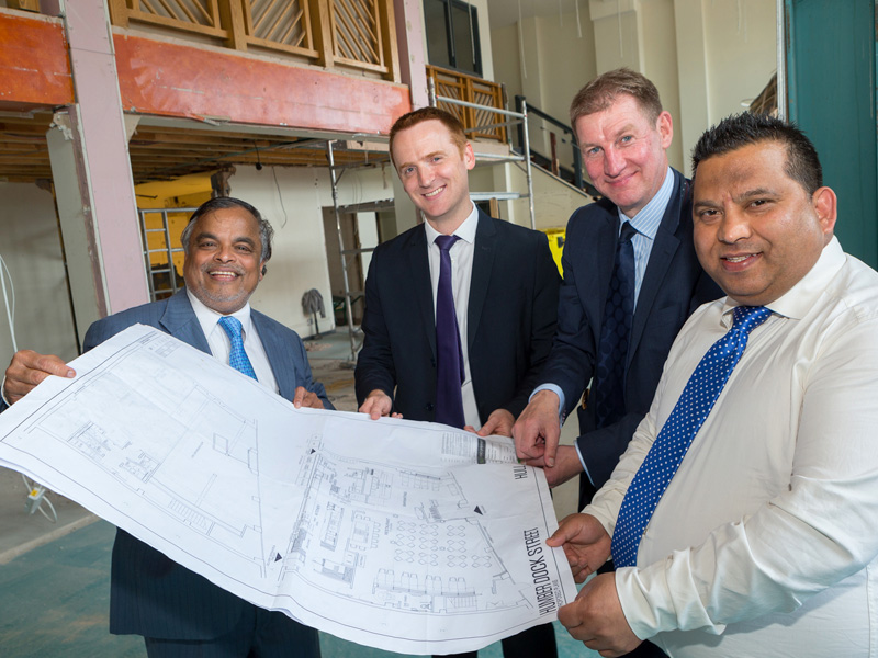 Work is under way to create Tapasya @ Marina within the former CatZero building in Hull's Fruit Market. Pictured reviewing the plans are Tapasya's Tapan Mahapatra, left, and Mukesh Tirkoti with Wykeland's Tom Watson, second left, and David Donkin.