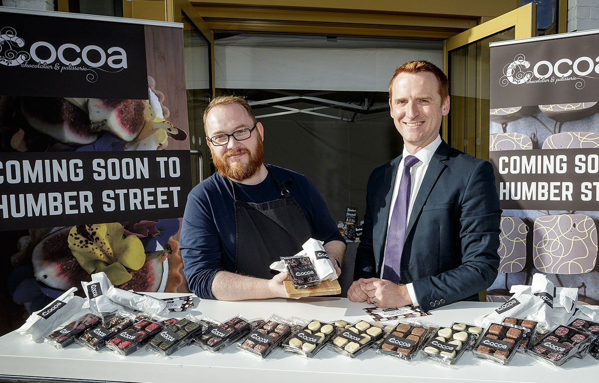 Chocolatier Jon Collins with Wykeland Group's Tom Watson in the pop-up venue created for Hull's Freedom Festival.