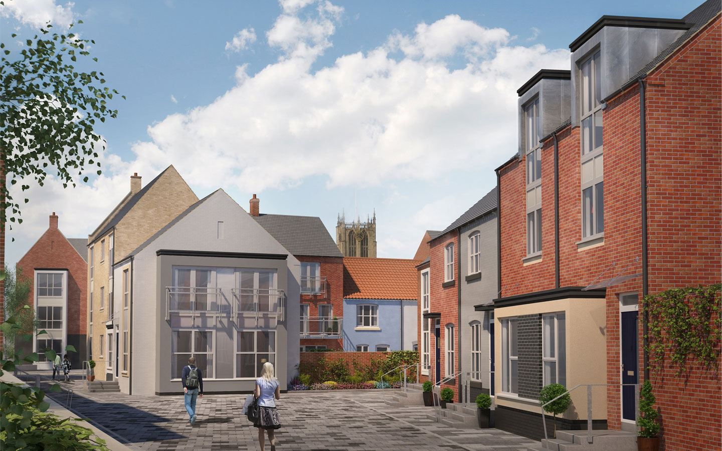 The approved plans for new housing in Hull's Fruit Market include the reinstatement of historic Scott's Square.