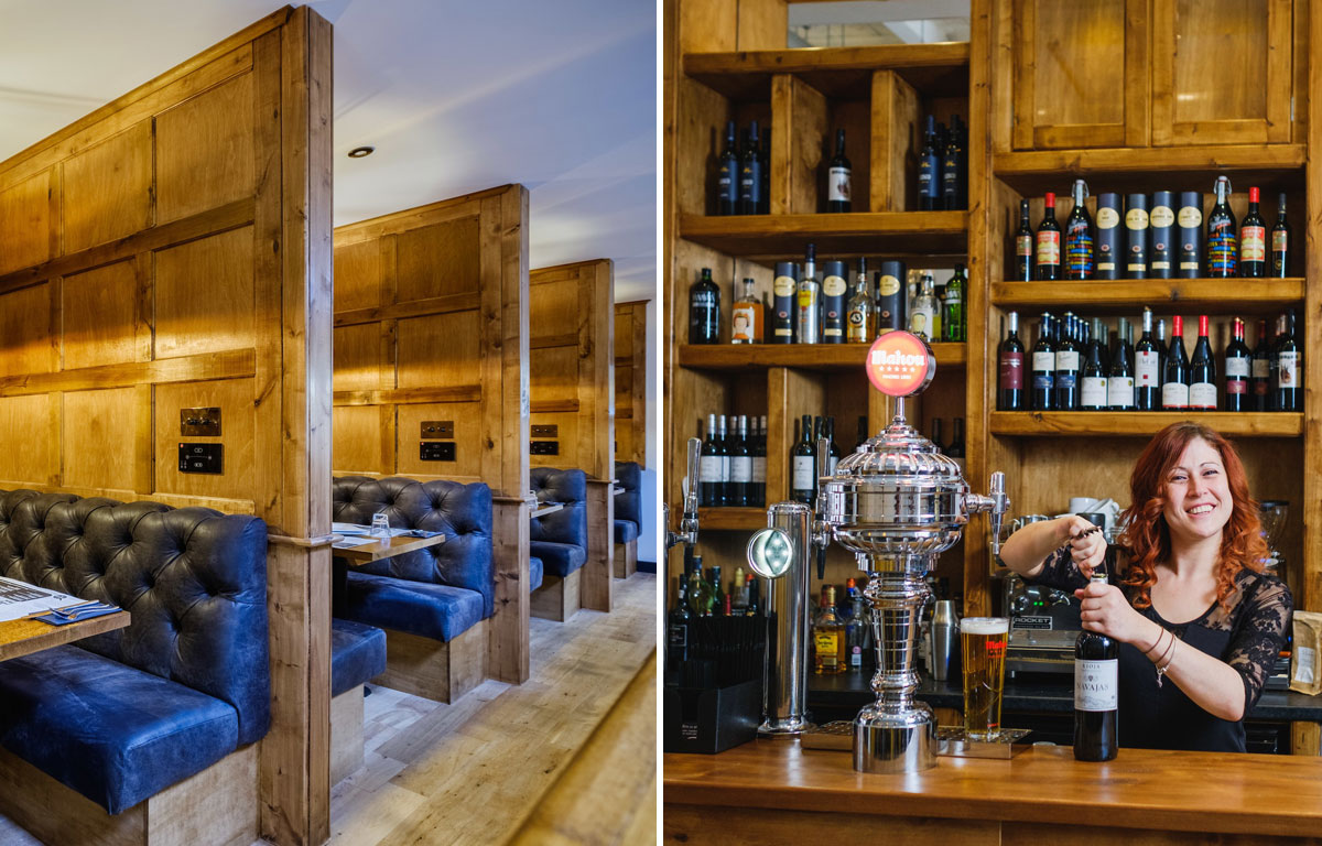 """Left:The restaurant has cosy booths where family and friends can socialise over tapas dishes """"with a Yorkshire twist"""". Right:Restaurant Manager Jemma Chance at the bar of Ambiente Tapas, which serves more than 60 wines and sherries."""