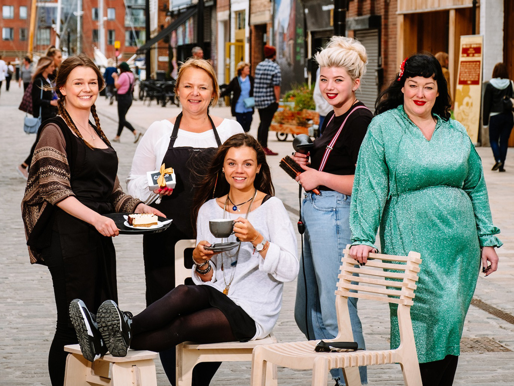 From left, Leah Andrew and Fiona George of Cocoa Chocolatier, Annie McIntyre of Blok CNC, and Leonna Foley and Sarah Clayton of Mousey Brown's, in Humber Street, which has become a thriving community of independent businesses.