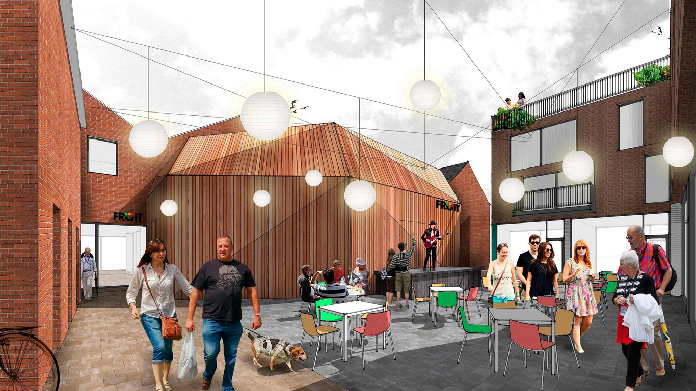 A computer-generated image of the proposed courtyard at the rear of 61-63 Humber Street, showing an extension to the building accommodating a new, purpose-built performance venue for Fruit.