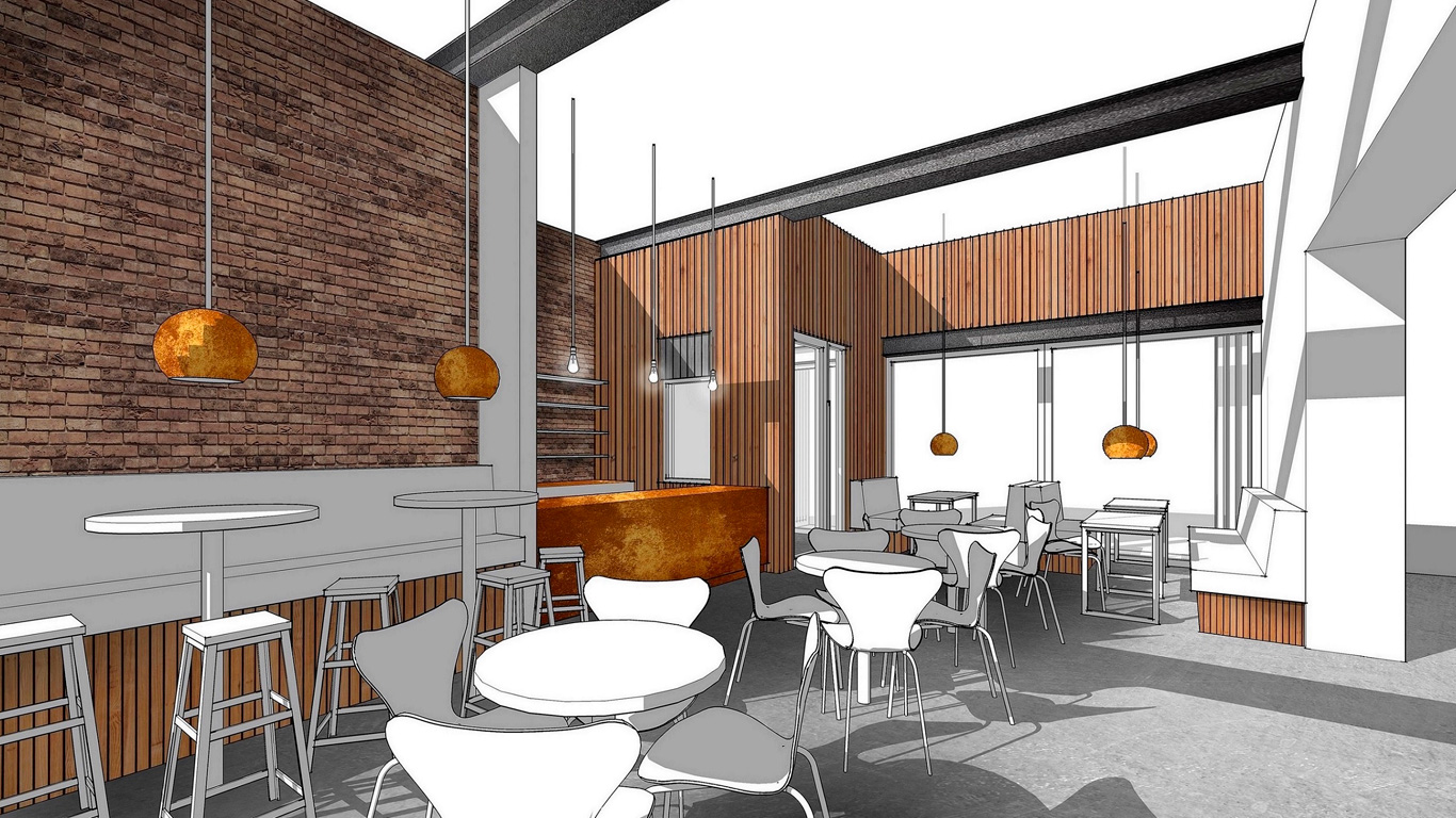 The proposed new café will be part of the complete restoration and reconfiguration of the building, creating a new hub for the creative industries in the Fruit Market.