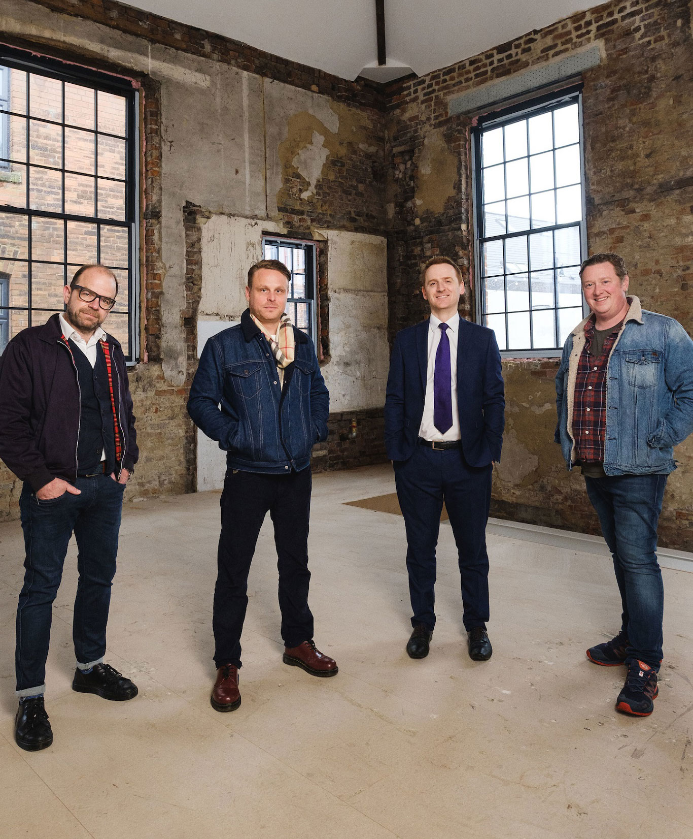 The restoration of  59 Humber Street  is the most extensive project carried out on a single building by Wykeland Beal as part of the regeneration of the Fruit Market. Pictured in the restored building are Wykeland Beal's Tom Watson, second from right, and business partners, from left, Chris Eastaugh, Jason Gittens and Dan Robinson, who plan to re-open the building under the name J. Johnson.