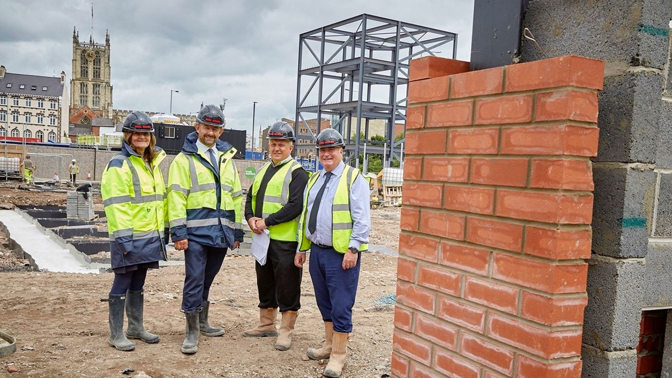 From left, Beal Homes' Sue Waudby, Richard Beal, John Ellis and John Goodfellow at the Fruit Market site where the first brickwork and steel structures mark the start of construction on Hull's most hotly-anticipated new housing development.