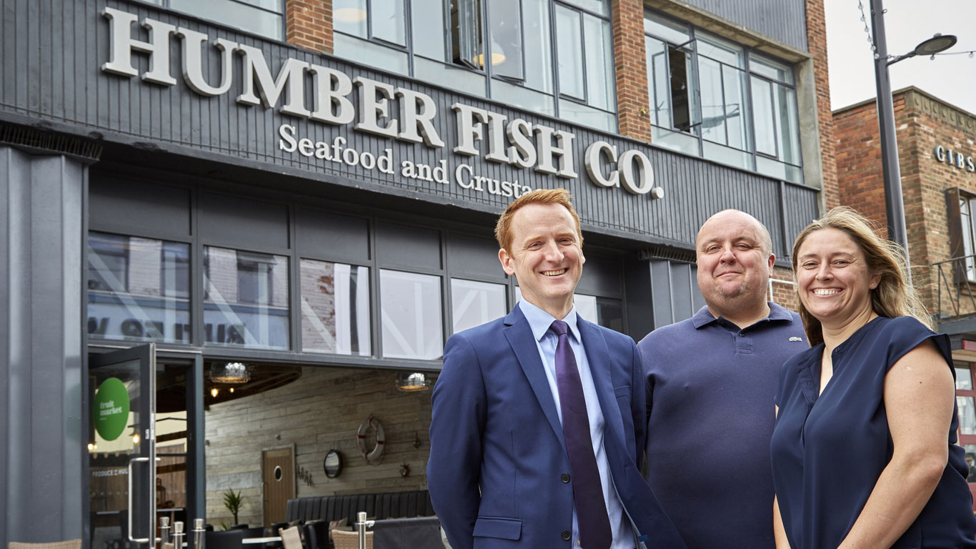 Restaurateurs James and Paula Stockdale with Tom Watson of developer Wykeland Beal, left. The owners are aiming to create an experience and environment to rival the best seafood restaurants in London and other major cities