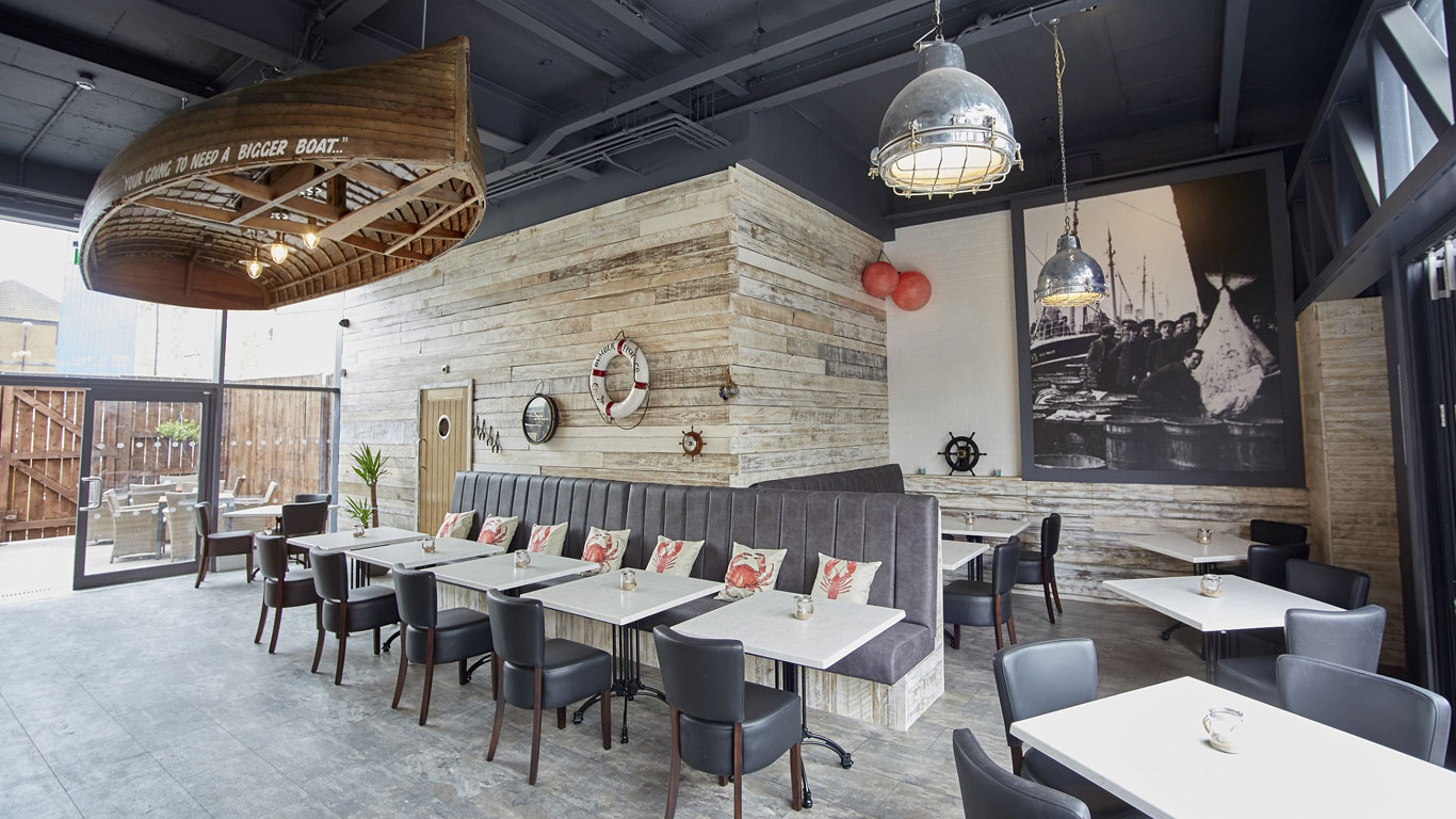 The stylish interior of Humber Fish Co., Hull's first on-trend, dedicated fish and seafood restaurant.