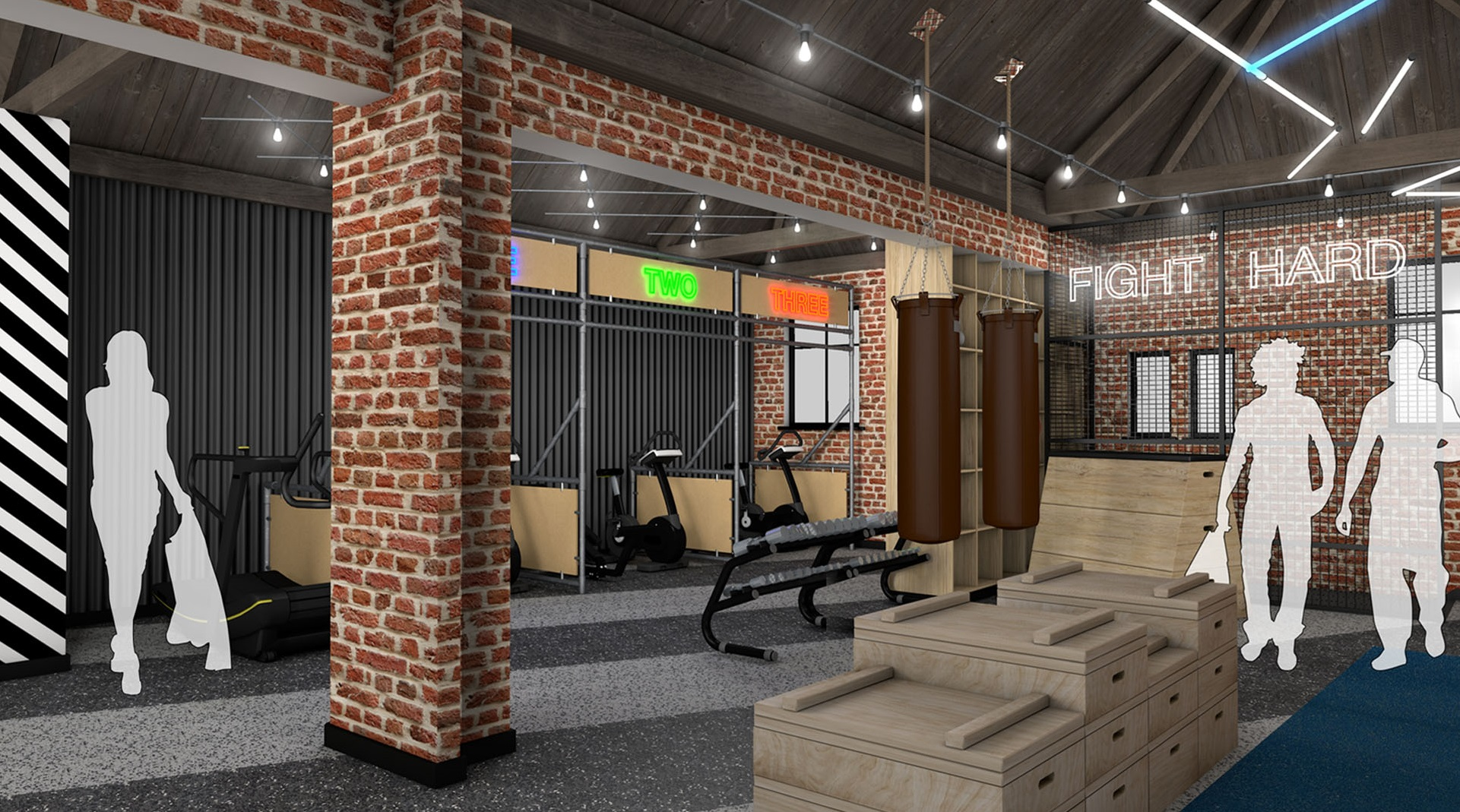 "An image of the upstairs gym in The Temple @ Humber Street, showing the individual ""mini gyms"". Images: The Temple @ Humber Street"