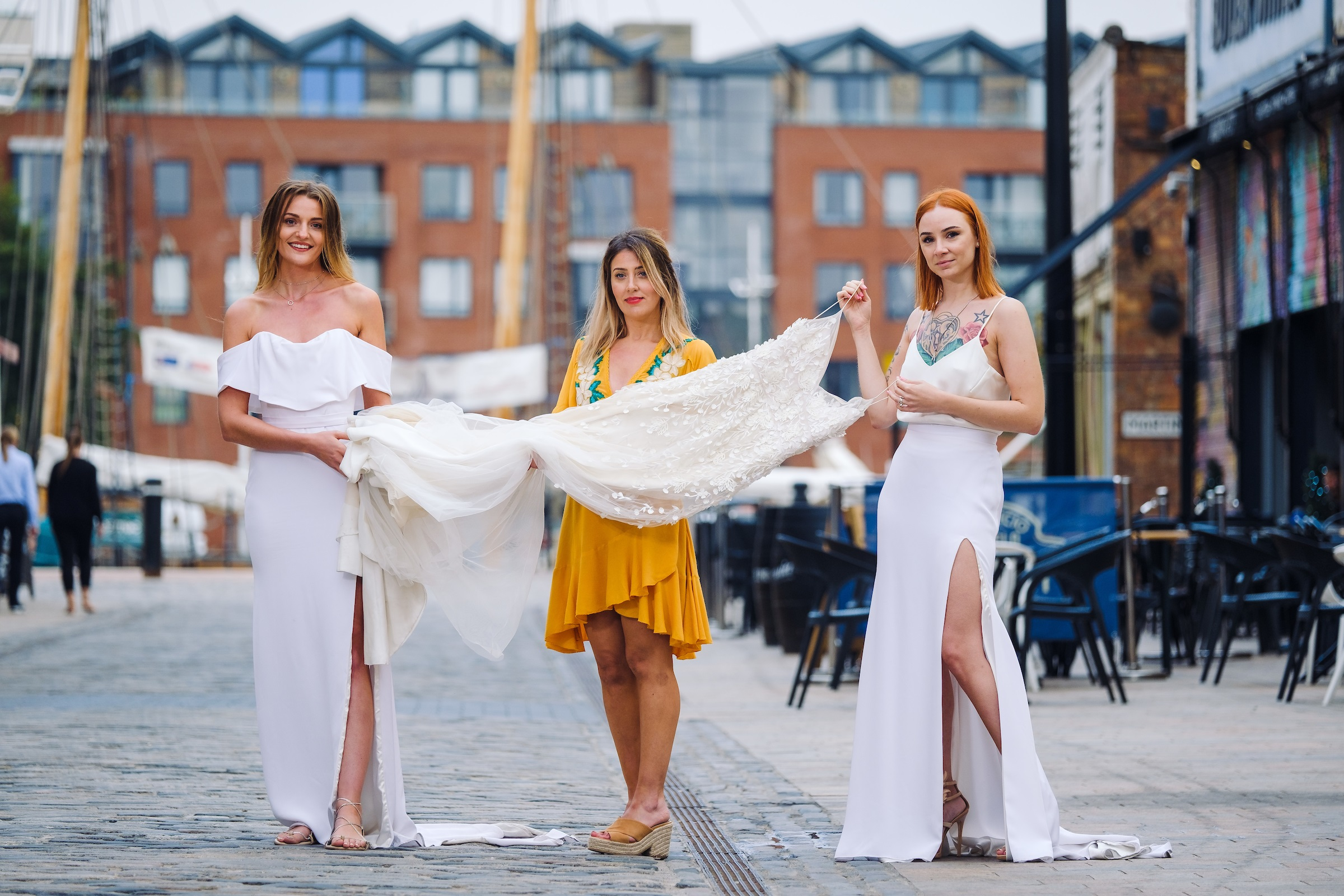 Ghost Orchid Bride owner Katey Headley, centre, with past customers Joanne Hill, left, and Hayley Sykes, in Hull's ever-evolving Fruit Market waterfront quarter.