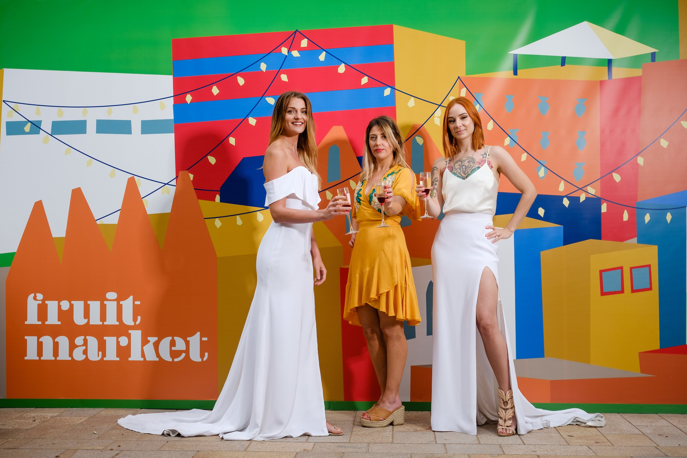 Owner Katey Headley, centre, pictured with past customers Joanne Hill, left, and Hayley Sykes in the vibrant and creative Fruit Market quarter.