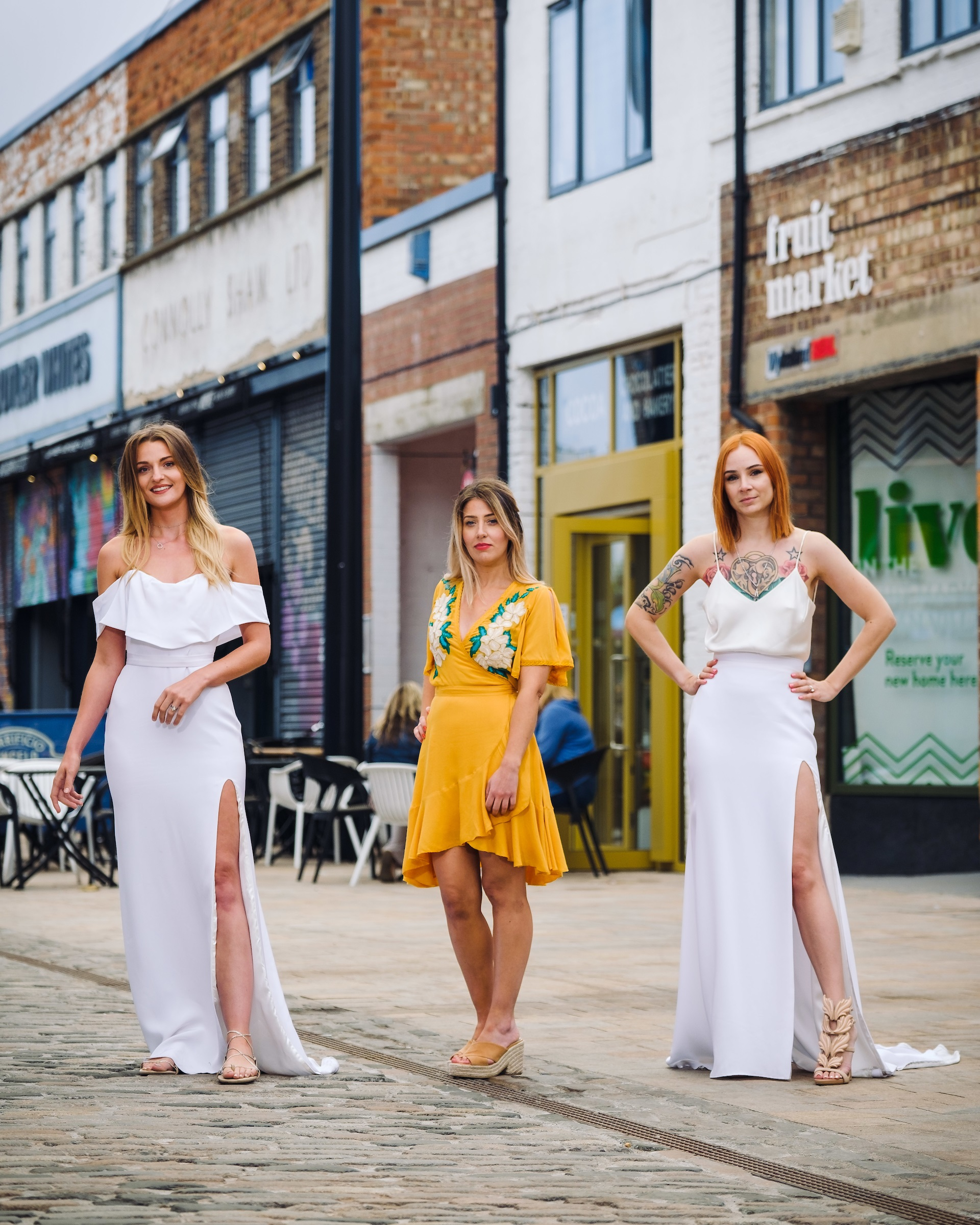 Owner Katey Headley, centre, in Humber Street where she plans to open Ghost Orchid Bride. She is pictured with past customers Joanne Hill, left, and Hayley Sykes.