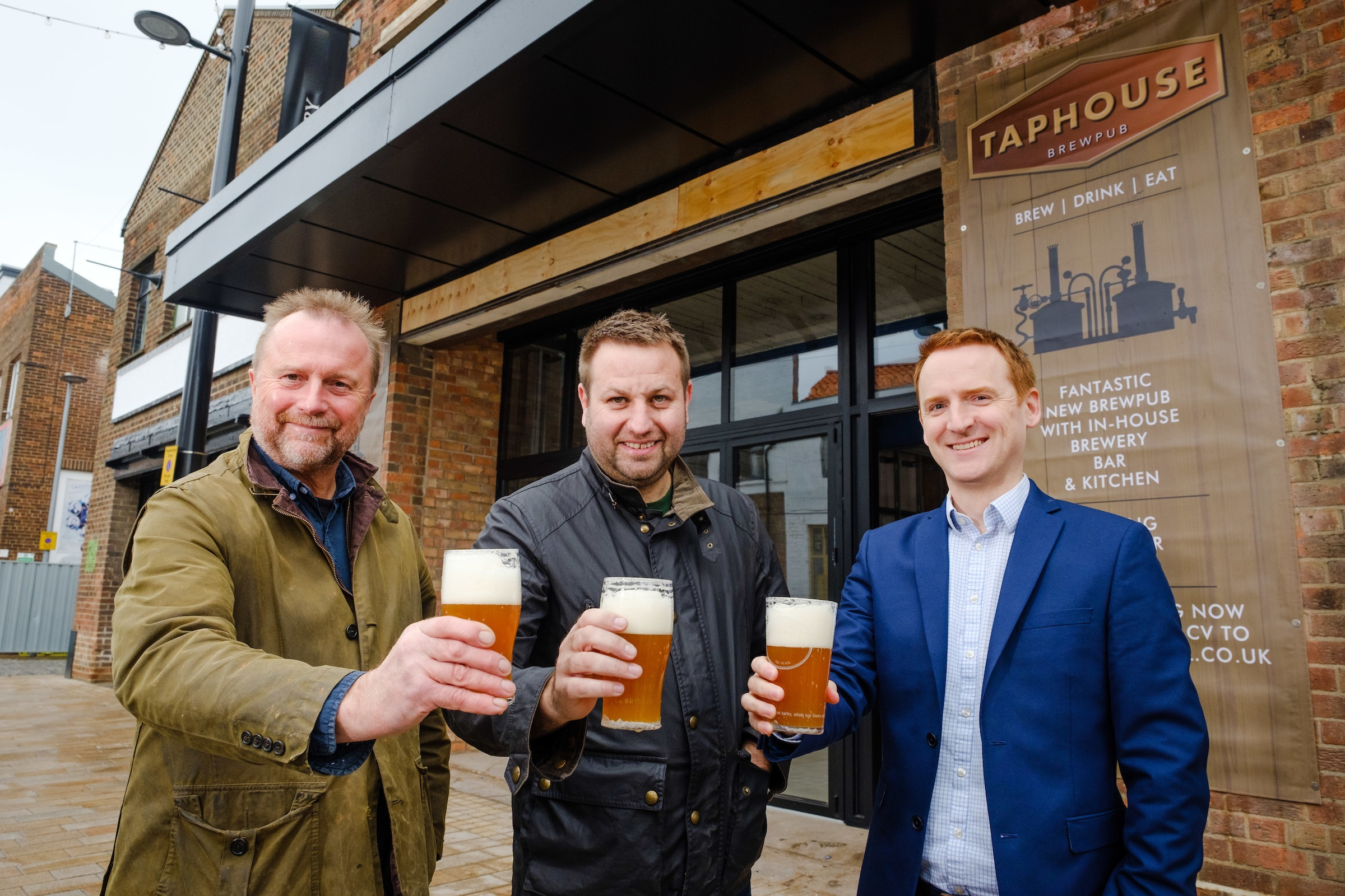 Taphouse Brewpub owners Guy Falkingham (left) and Lee Kirman (centre) with Tom Watson from Wykeland Beal.