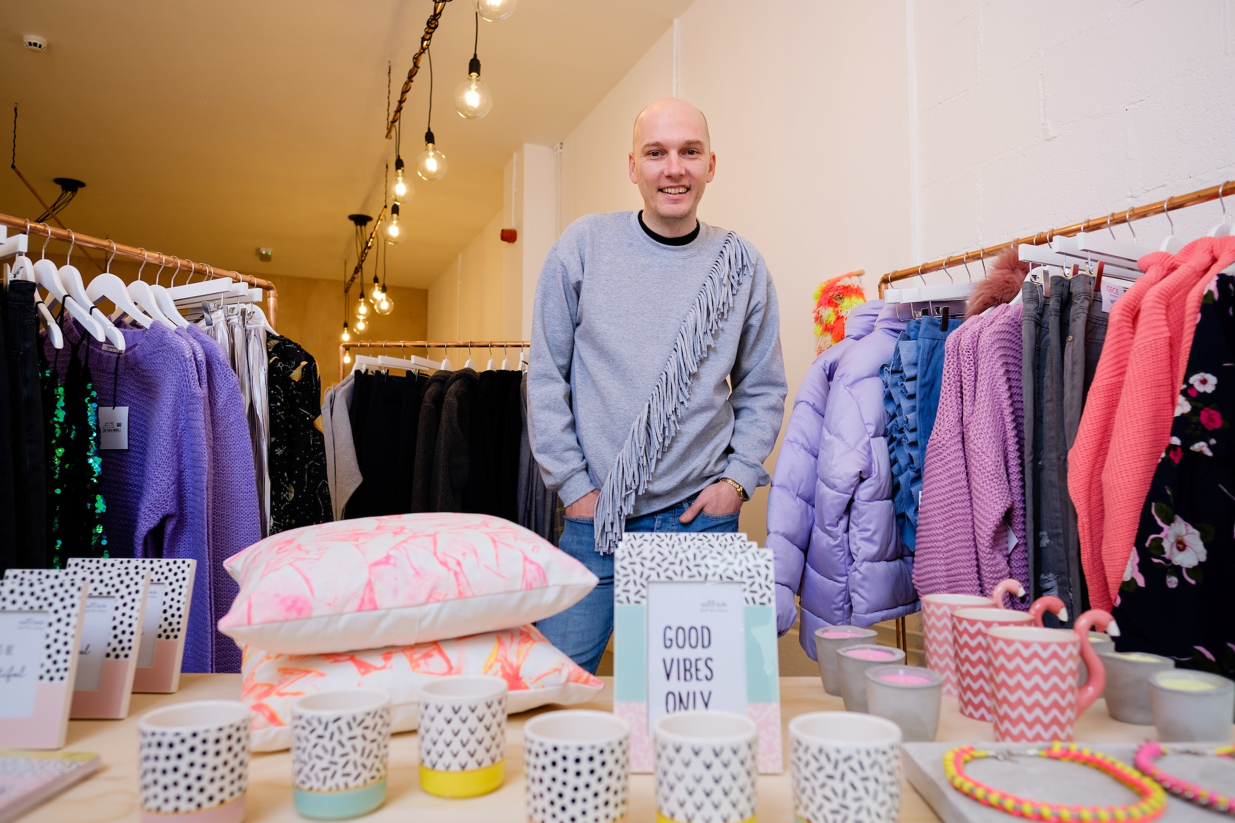 Shaun Barker-Newton in his new contemporary lifestyle store 19point4 in Hull's thriving Fruit Market district.