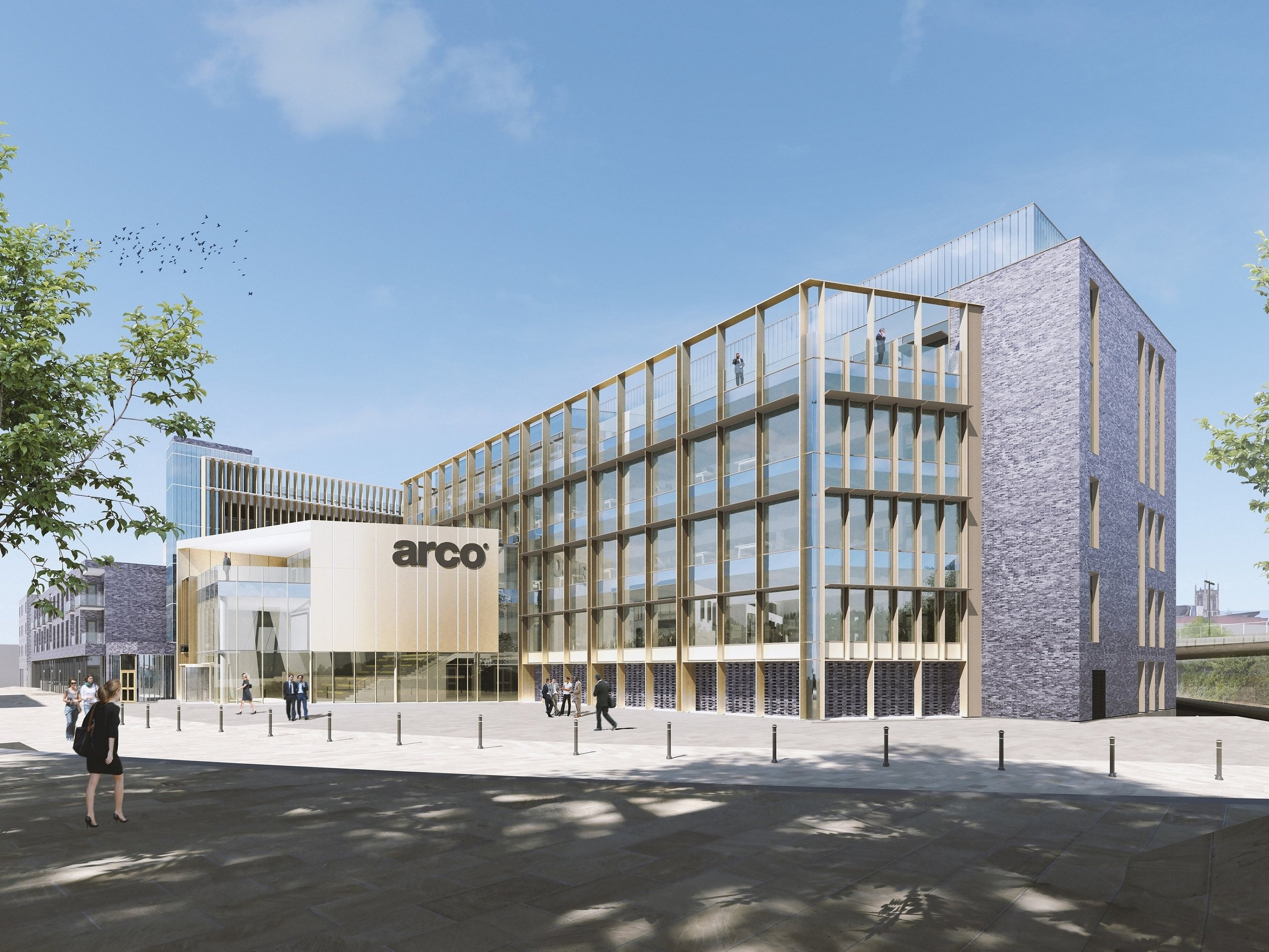 A computer-generated image of the proposed headquarters building for Arco. The plans include a 350 space multi-storey car park, shown behind the Arco building.