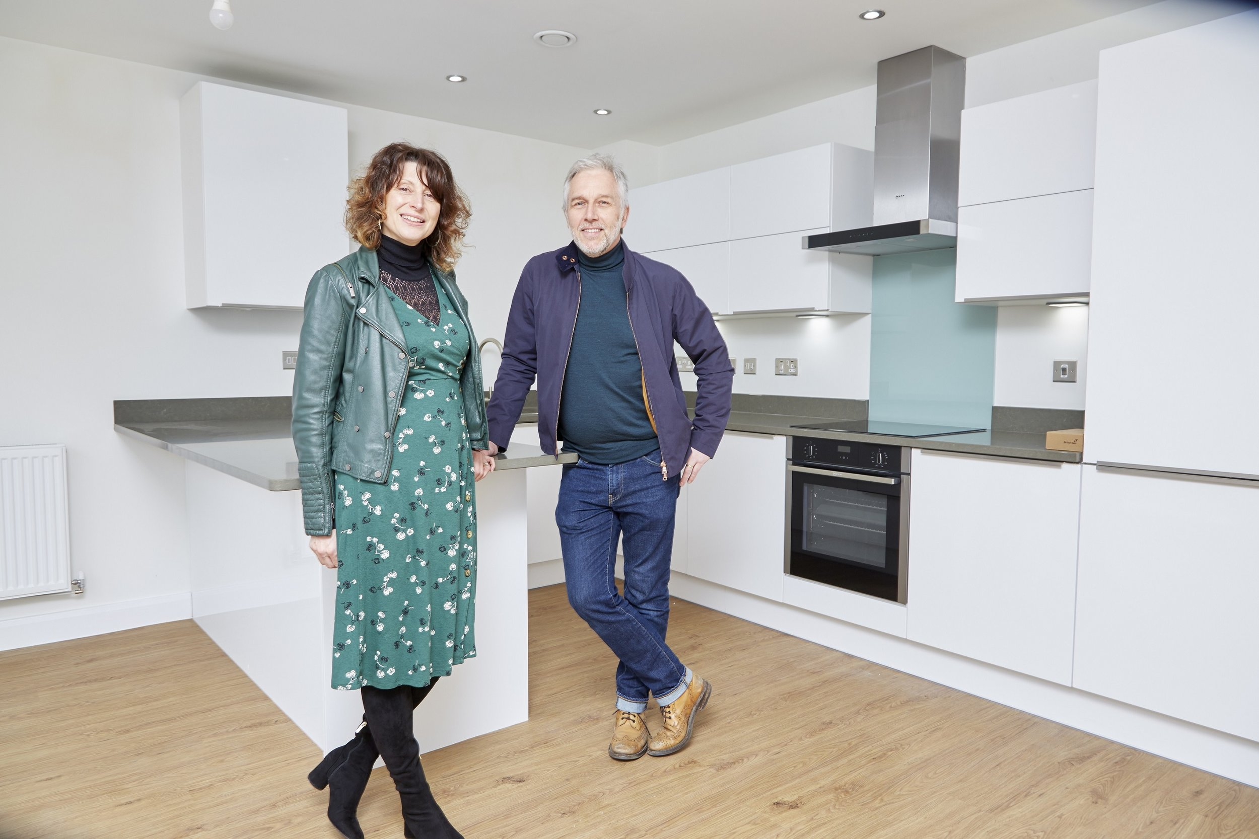 Steve Copeman and Claire Bell inside their stylish new two bedroom apartment overlooking Humber Street in the rejuvenated Fruit Market urban village.