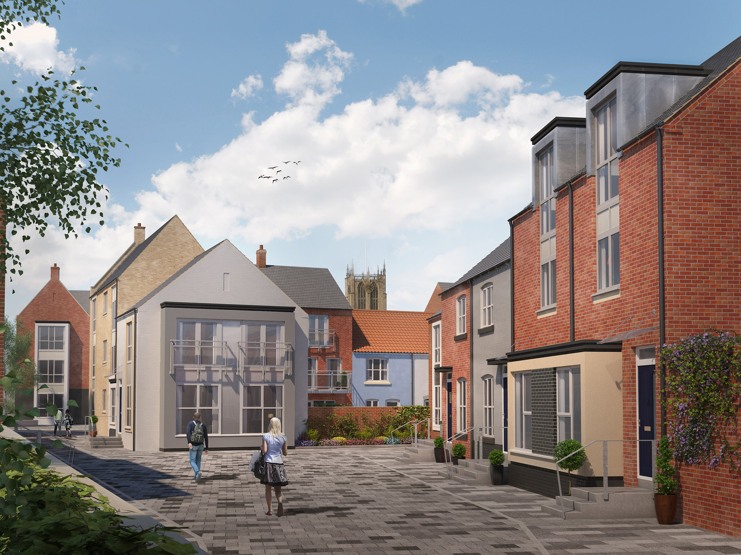 Scott's Quarter includes Scott's Square, which recreates an historic square lost to demolition many years ago. It will create an attractive pedestrian link between the new homes and the heart of the Fruit Market community in Humber Street.