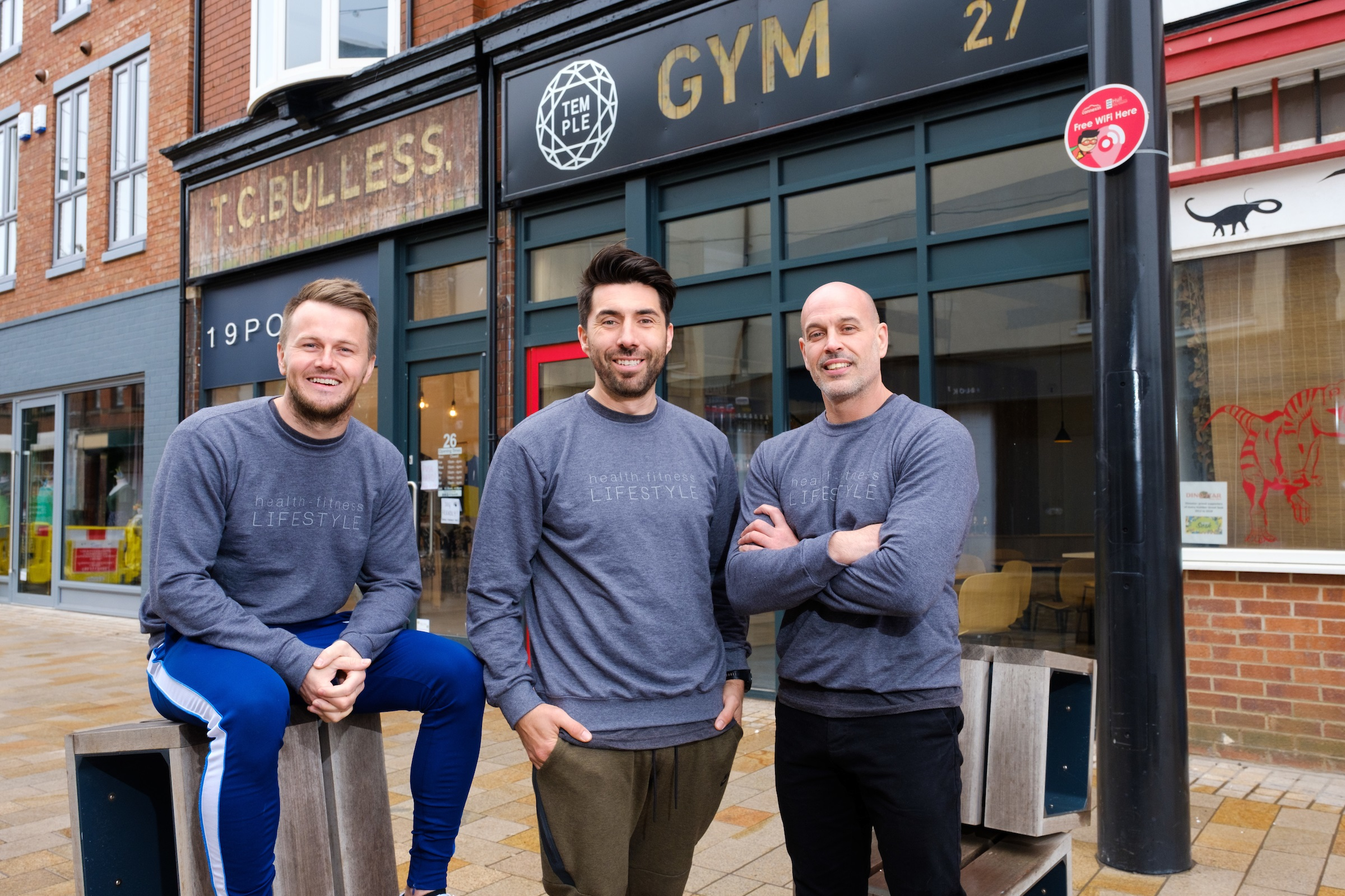Business partners, from left, Wayne Audsley, Riccardo Seaton and Dale Robinson outside their The Temple gym – the latest new venture in the Fruit Market urban village.