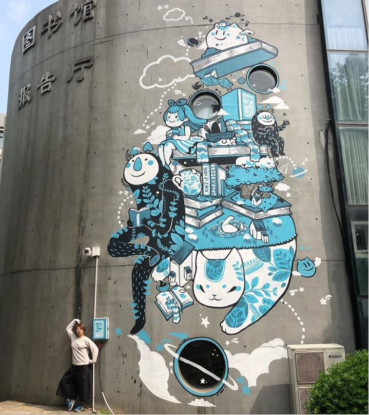 Street artist Simple Bao with one of her creations. She and fellow Hong Kong graffiti artist ANHZ will be bringing their talents to Humber Street Sesh.
