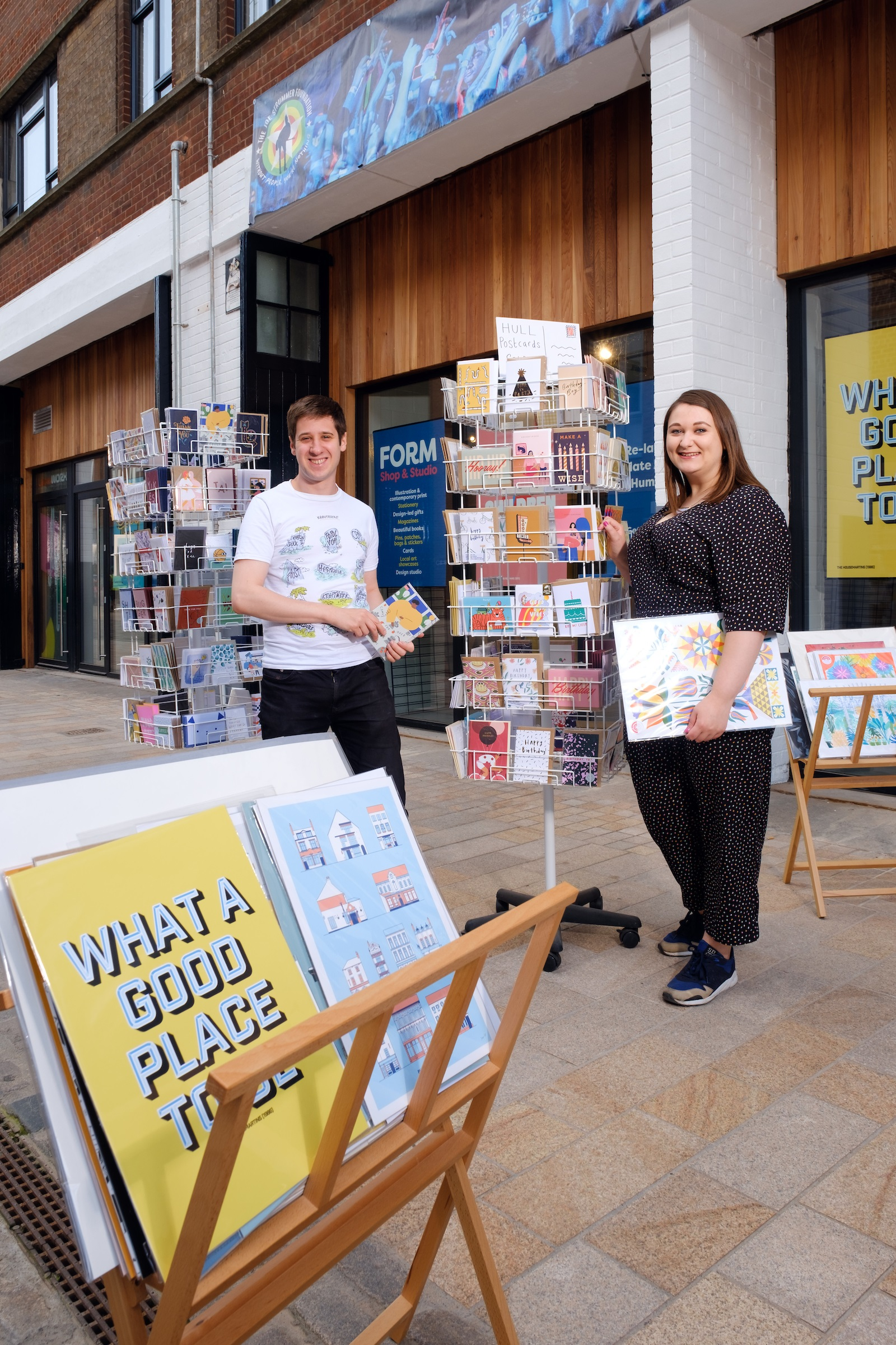 Form Shop & Studio owners Joseph Cox and Alice Thomson outside the new home for the business within the creative hub in the heart of Hull's Fruit Market.