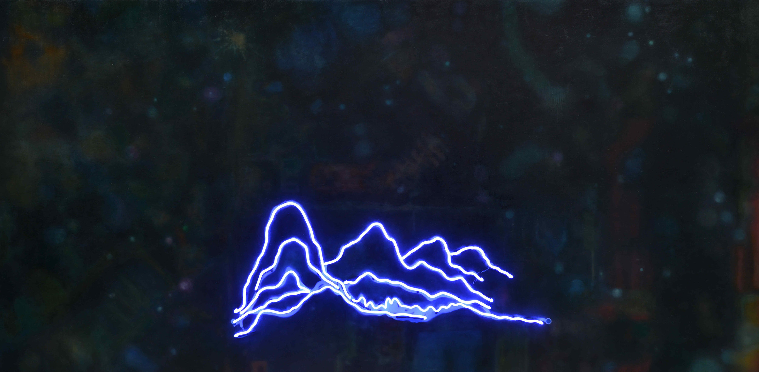 行走 No9霓虹灯、油画和综合材料于帆布Walking  No 9 Neon, oil and Mixed Medium on Canvas_副本.jpg