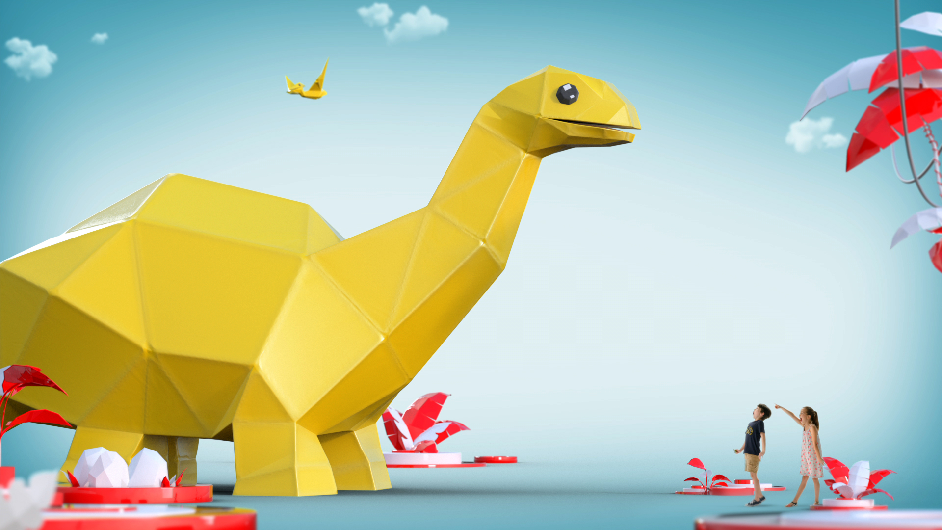 Paper dino as he appears in the commercial.
