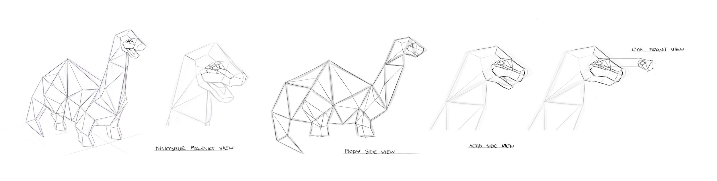 Development of the paper dino.