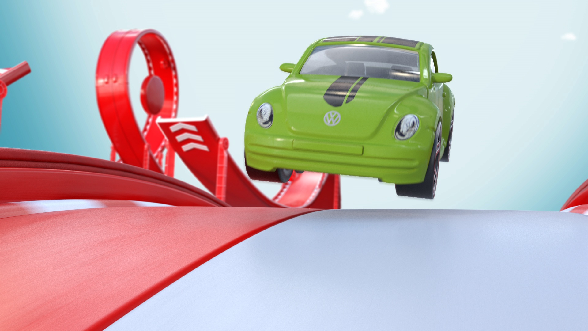 Frame from the finished ad of the CGI Hot Wheels car in flight.