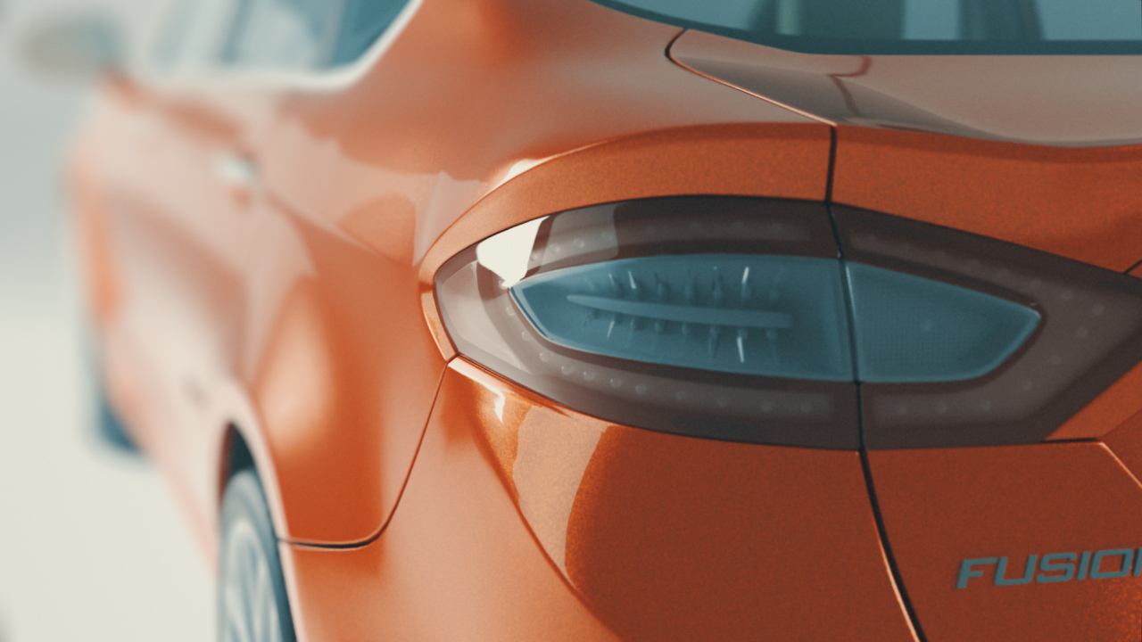 Using a stand-in model of the US Ford Fusion, we started to look at surfacing materials for the metallic paint as well as Depth Of Field (DOF) renders.
