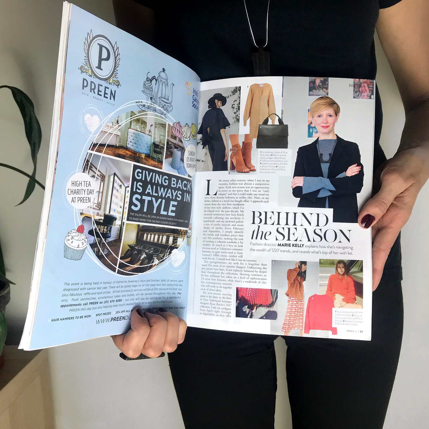 """Image Magazine  Fashion director — Marie Kelly wears Leko & Leko pendant in an article where she explains how she navigates SS17 trends. """"I love the subtle texture and graphic shapes of Leko & Leko's contemporary pendants."""""""