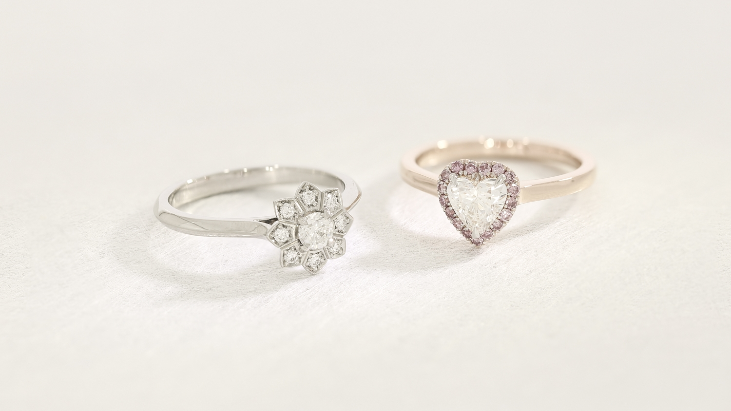 Fancy shape engagement rings made from platinum & rose gold