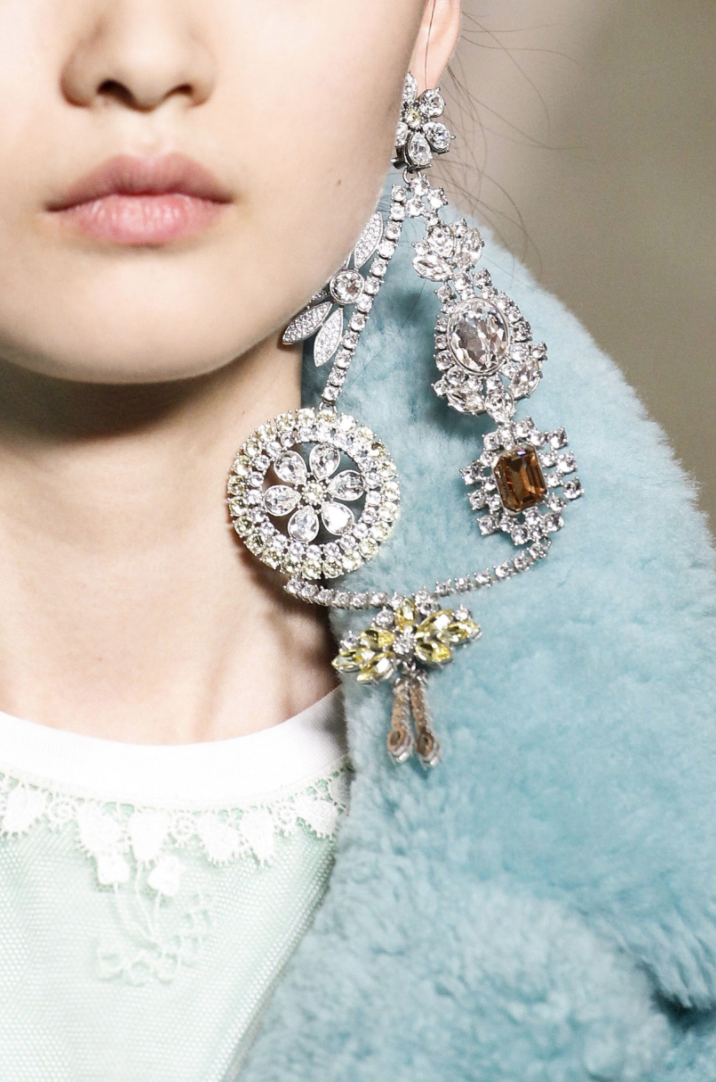 Burberry's brooch-chandelier earrings. Photo credit Marcus Tondo