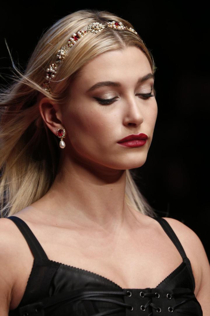 Hailey Baldwin at Dolce & Gabbana. Photo credit Indigital
