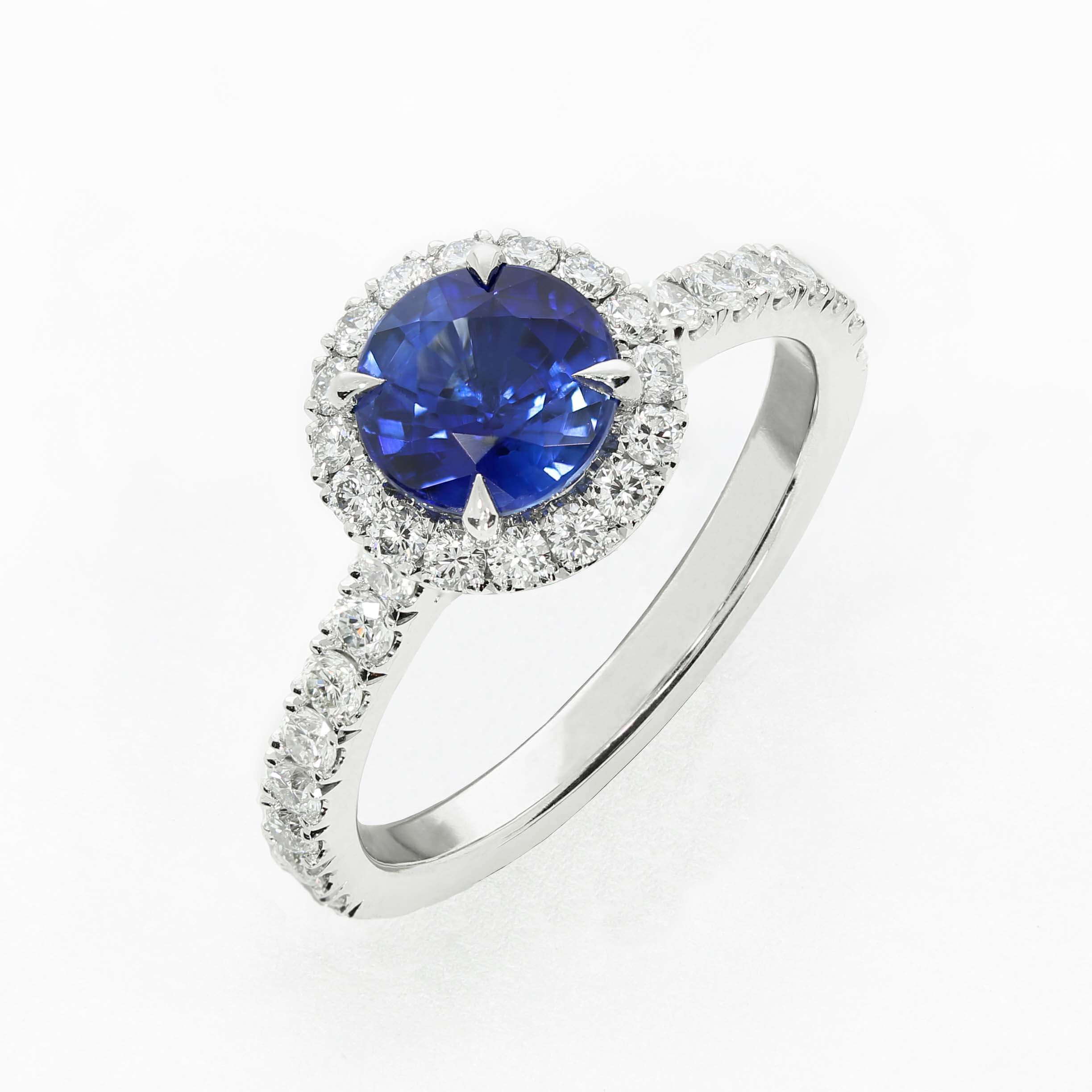 Queensmith's  Classic Oberon engagement ring, with 1.45ct natural blue sapphire