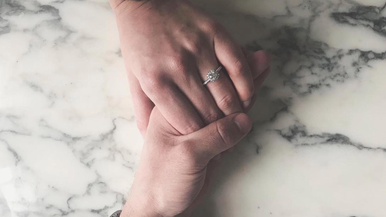 Babington-house-proposal-ideas-love-story-becca-and-jordan-diamond-engagement-ring-square-cushion-halo-round-brilliant-diamond-queensmith-master-jewellers-hatton-garden-jeweller-solitaire-bespoke