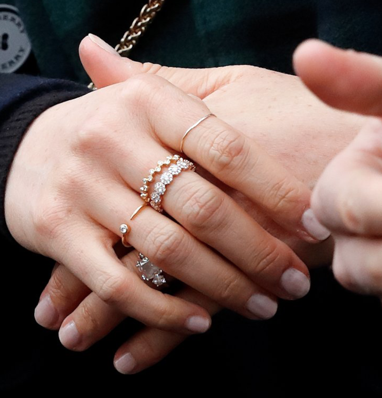 Proving Markle likes sparkle: Meghan's existing ring collection features dainty diamond eternity bands