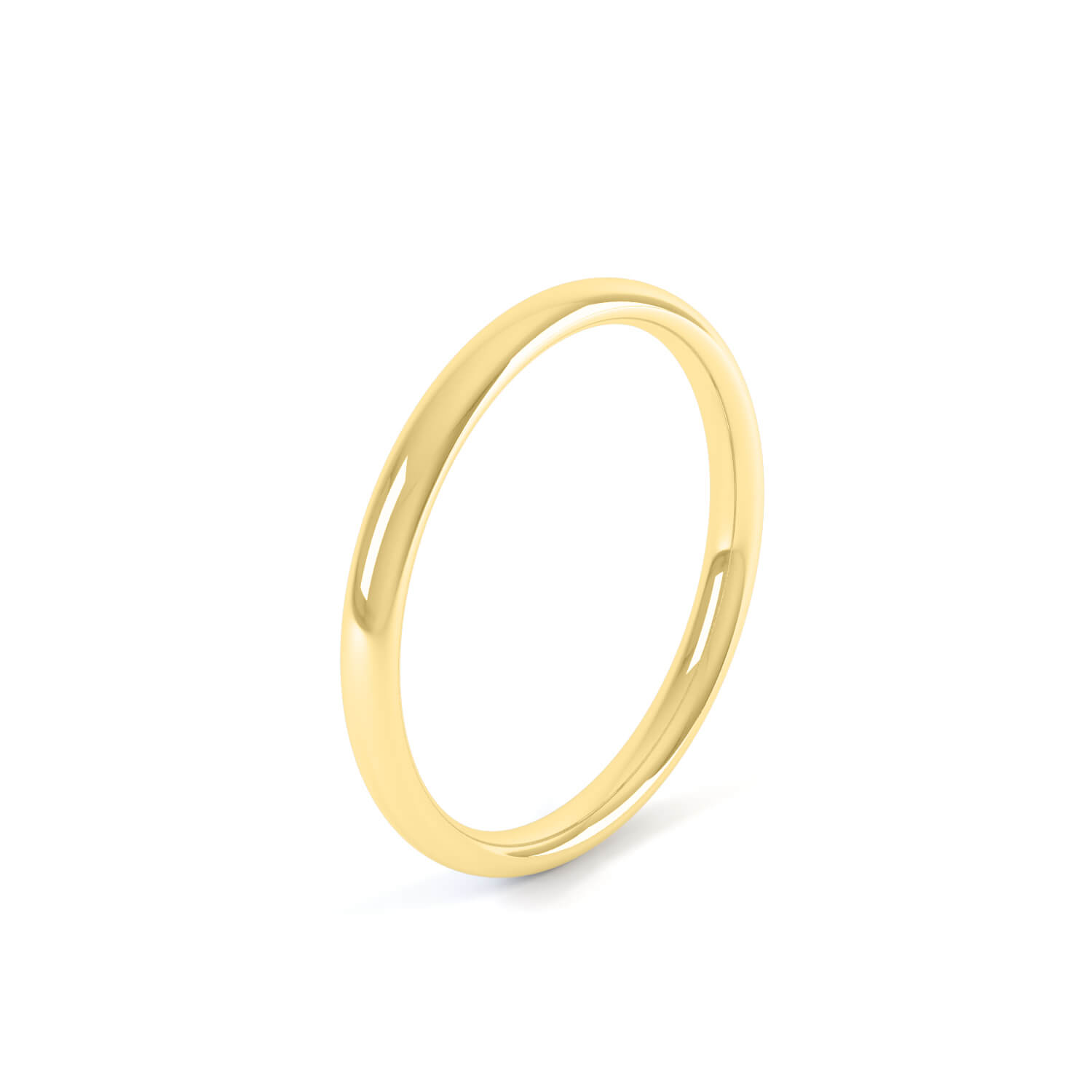 Queensmith's  2mm Light Court Wedding Band  , in 18k yellow gold