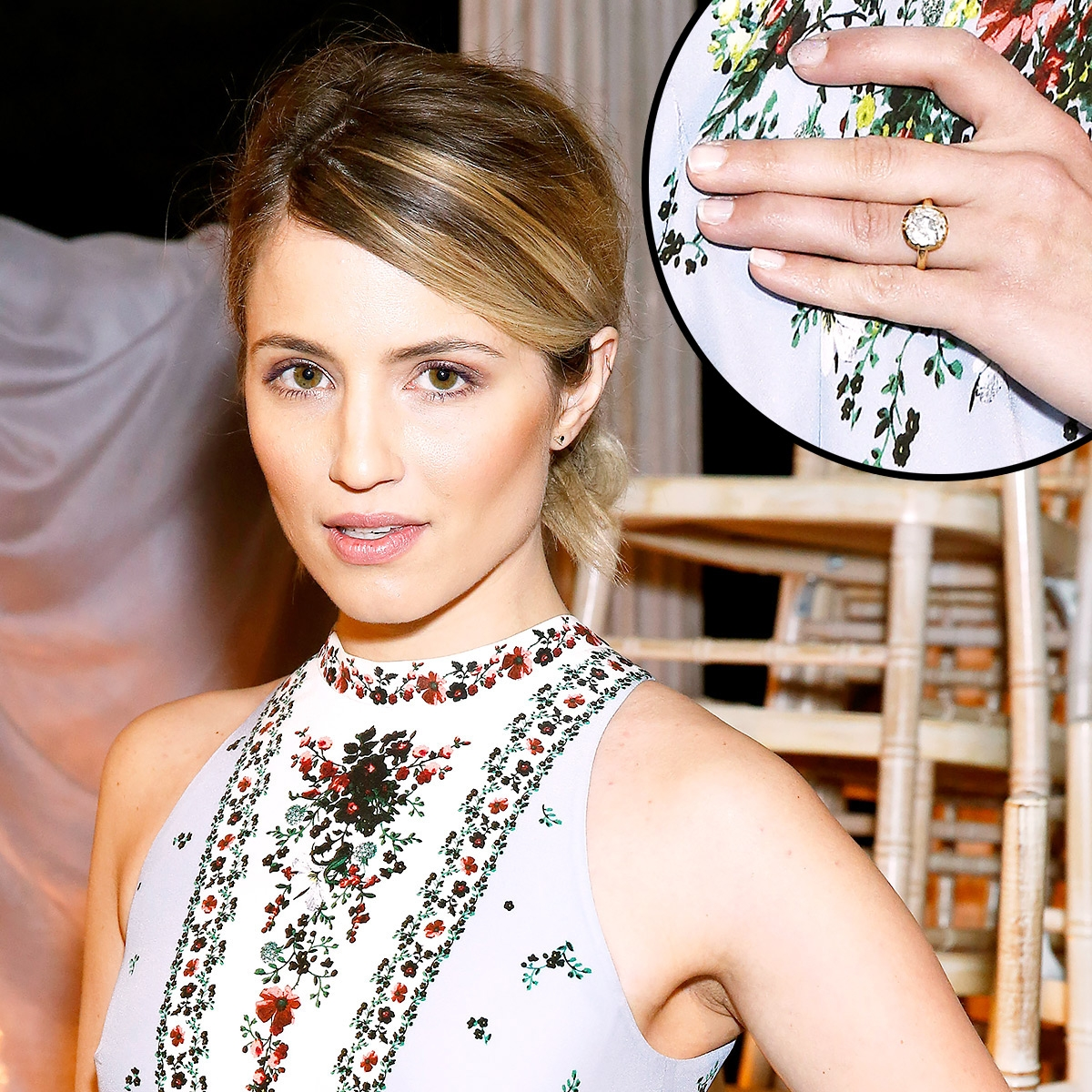 Diana Agron debuted her engagement ring at London Fashion Week 2016.  Darren Gerrish/Getty Images