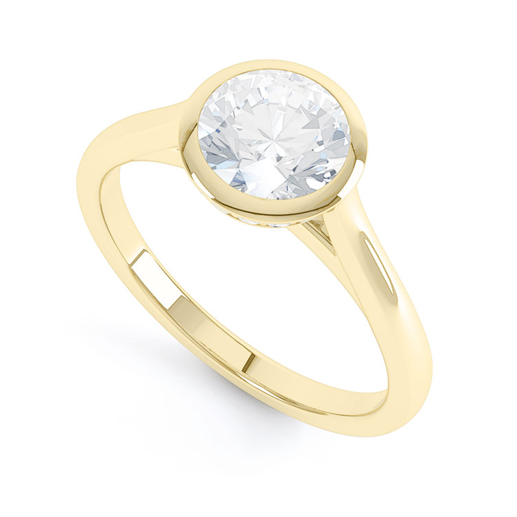 The super modern  Darrieux engagement ring  in 18k yellow gold, by Queensmith
