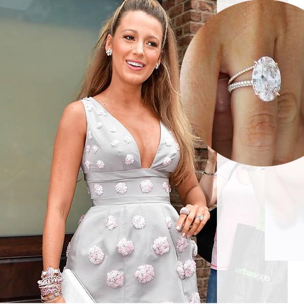 Blake's pale pink oval diamond, set in a rose gold pavé diamond band