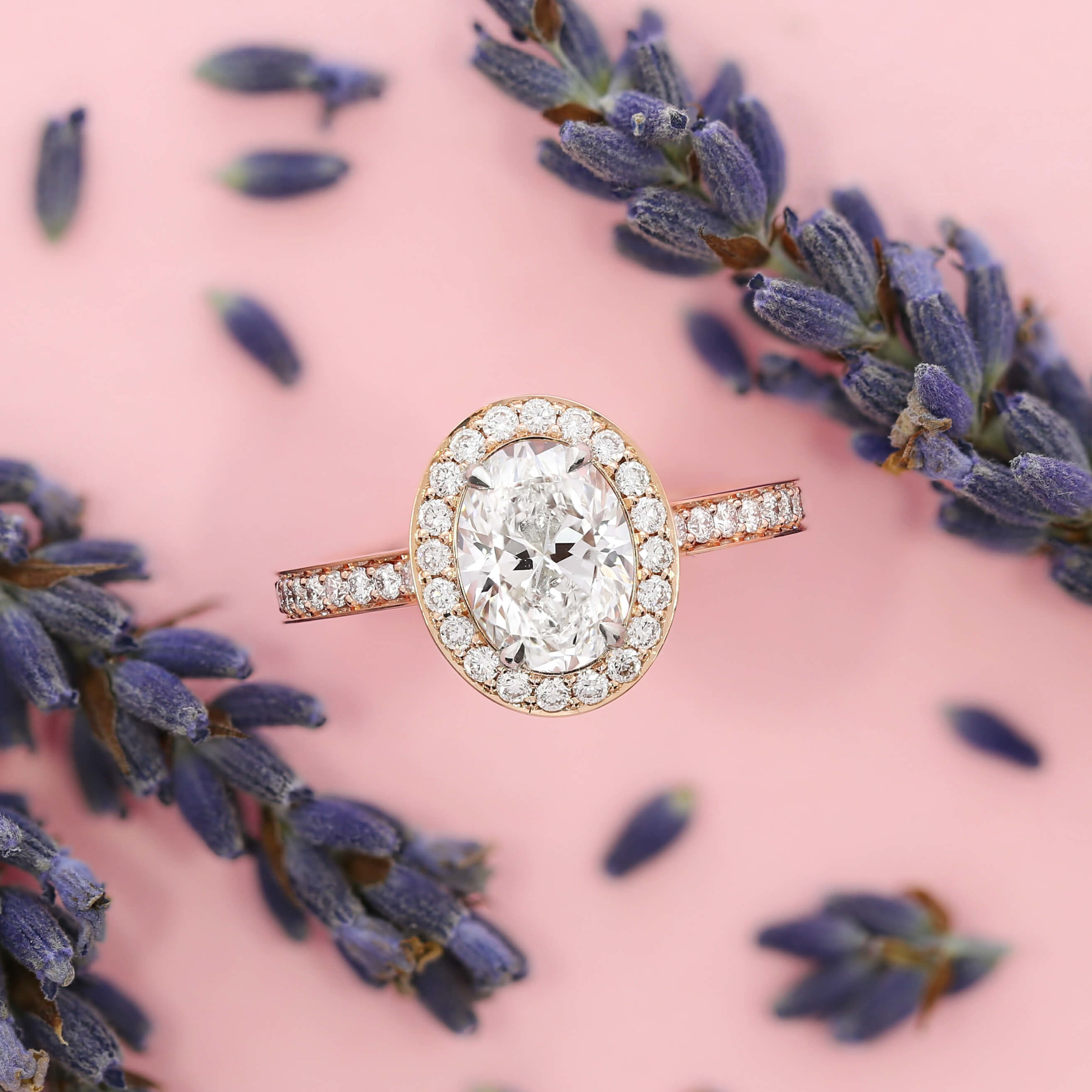 Queensmith's Bacall halo engagement ring with diamond pavé set shoulders in 18k Rose Gold