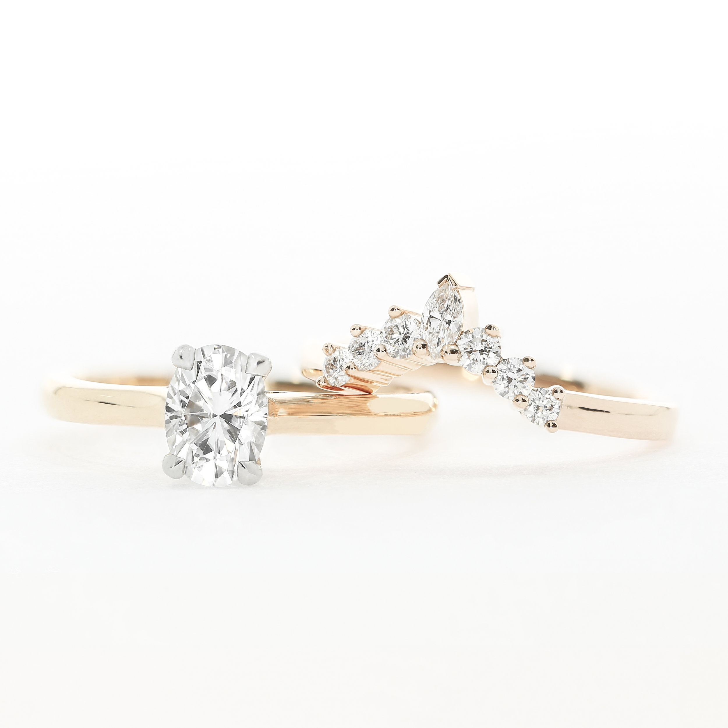 Oval Tierney oval solitaire  engagement ring and bespoke commission  contoured wedding band