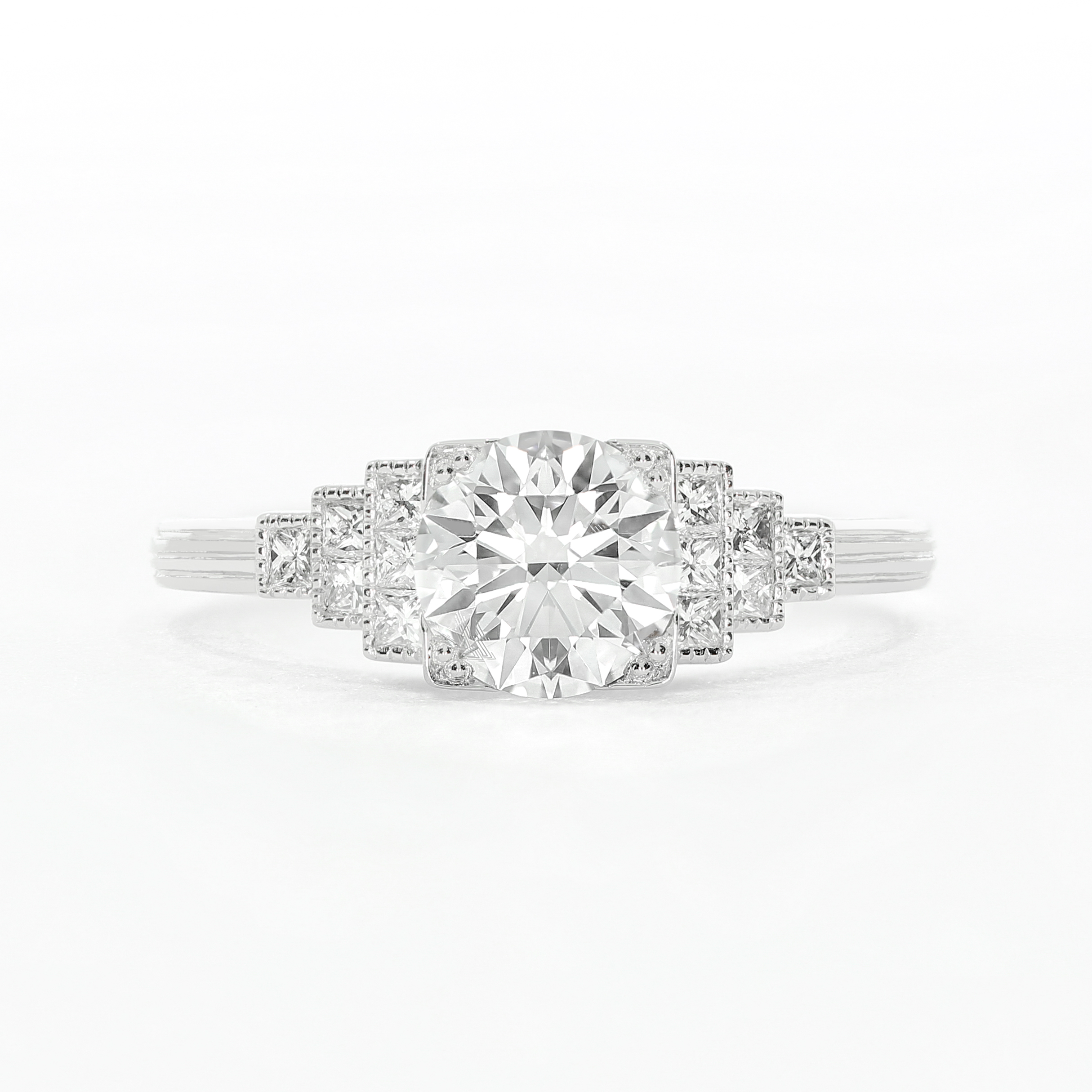 A  bespoke engagement ring  commission, based on Art Deco design