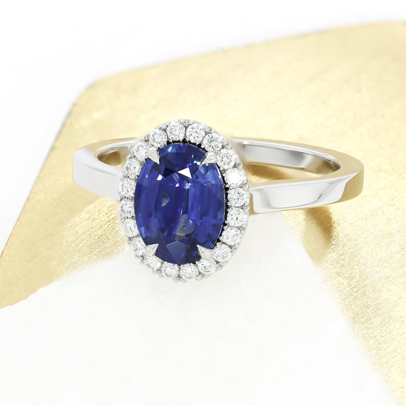 The  Bacall engagement ring , set with an oval sapphire in platinum