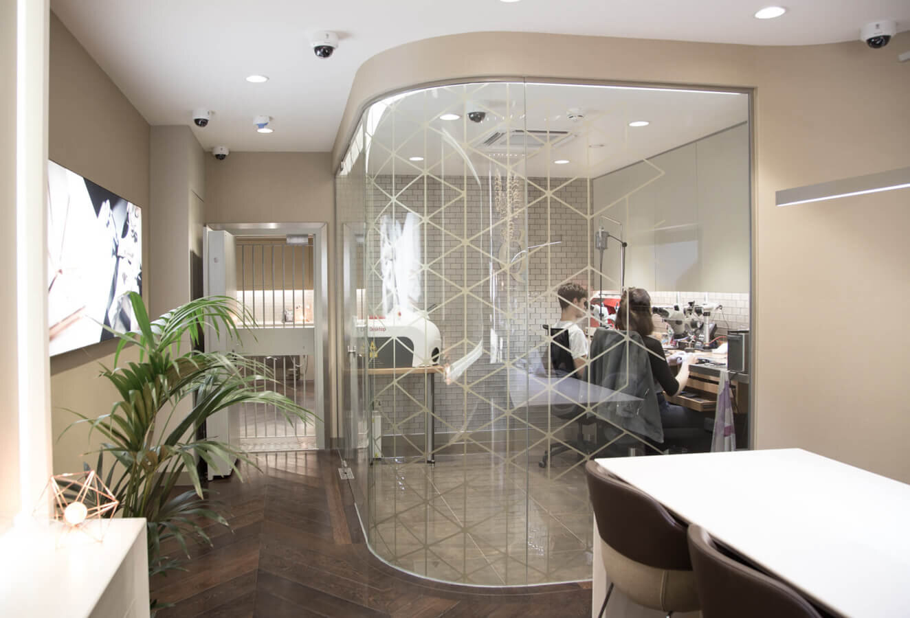 Inside the store, where Paul designed Sophy's ring & selected her diamonds with Queensmith