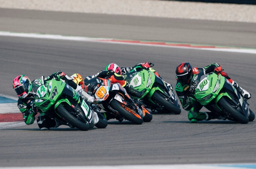 Ana Carrasco at the tail of a four-bike group. Image: Kawasaki Media