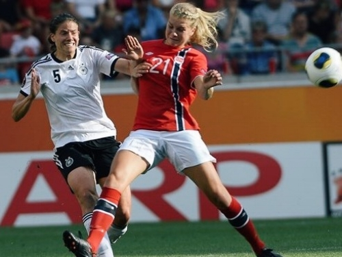 Annike Krahn of Germany in action with Ada Hegerberg when she still played for Norway during the Euros 2013